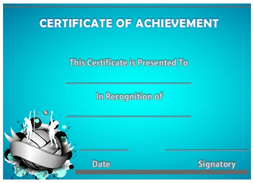 Volleyball Achievement Certificate 2