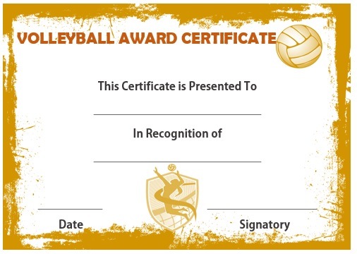 Volleyball Award Certificate