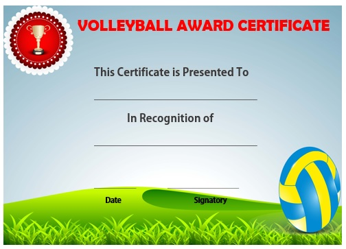 Volleyball award certificate template