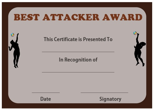 Volleyball best attacker certificate