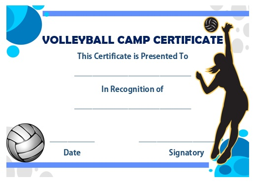 Volleyball camp certificate