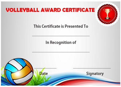 Volleyball certificate sample