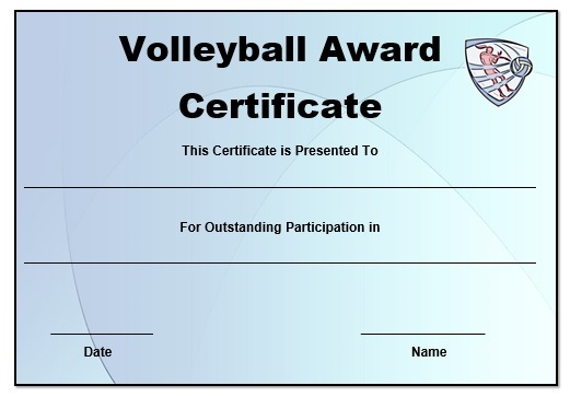Volleyball certificate templates word