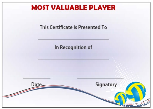 Most Improved Certificate Template 25 Volleyball Certificate Templates Free Printable