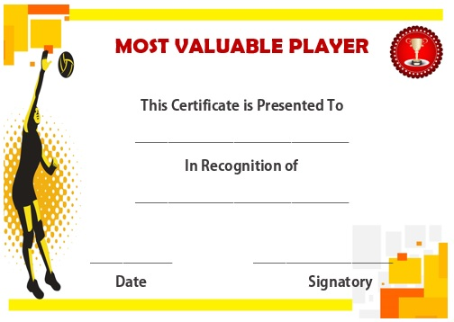 25 volleyball certificate templates free printable for Basketball mvp certificate template