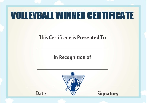 Volleyball winner certificate
