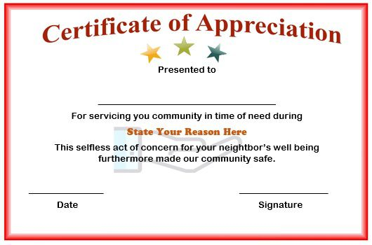volunteer firefighter certificate of appreciation
