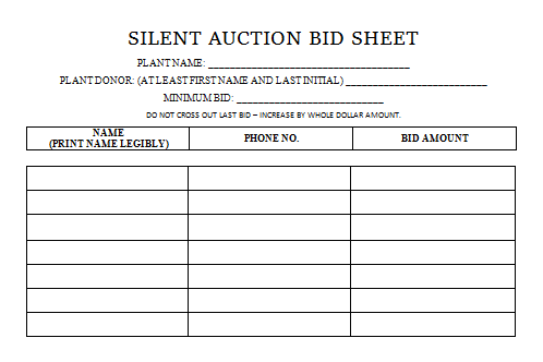 silent auction bid sheets templates samples
