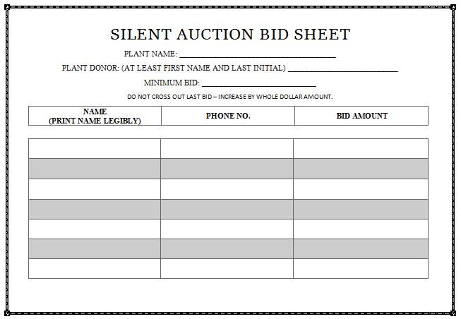 silent auction bid sheet templates in word printable professional designs demplates. Black Bedroom Furniture Sets. Home Design Ideas