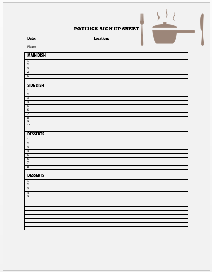 Breakfast Potluck Sign up Sheet 12