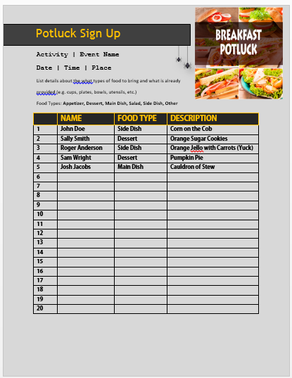 Breakfast Potluck Sign up Sheet 13