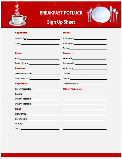 Breakfast Potluck Sign up Sheet 2