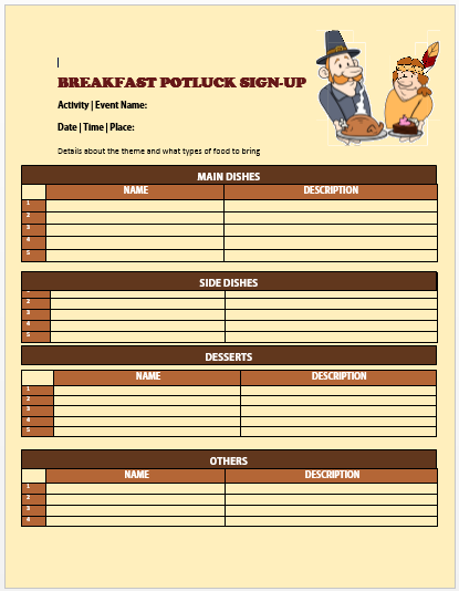 Breakfast Potluck Sign up Sheet 3
