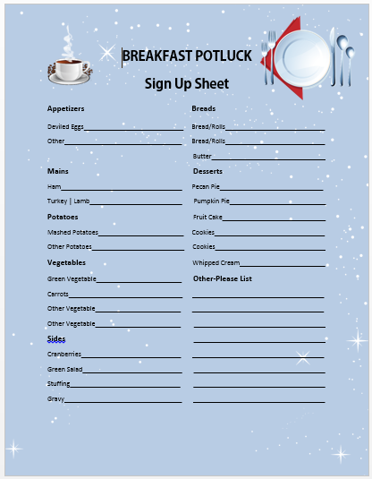 Breakfast Potluck Sign up Sheet 6