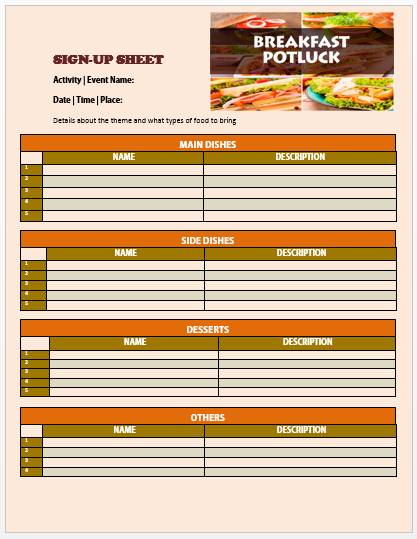 Breakfast Potluck Sign up Sheet 7