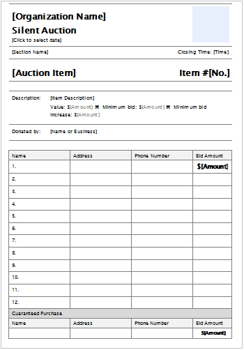 Buy Silent Auction Bid Sheet