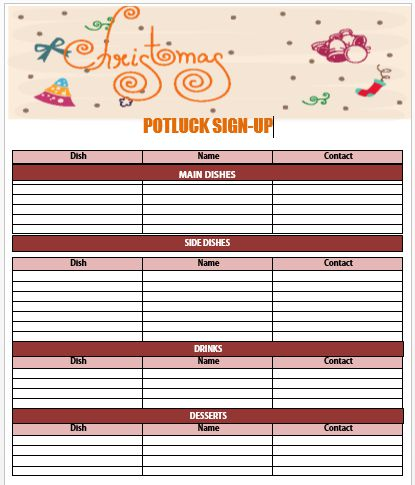 Christmas Potluck Sign up Sheet 1