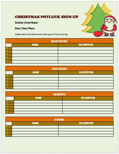 Christmas Potluck Signup Sheet 10