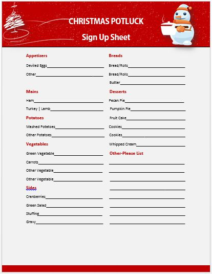 Christmas Potluck Sign up Sheet 2