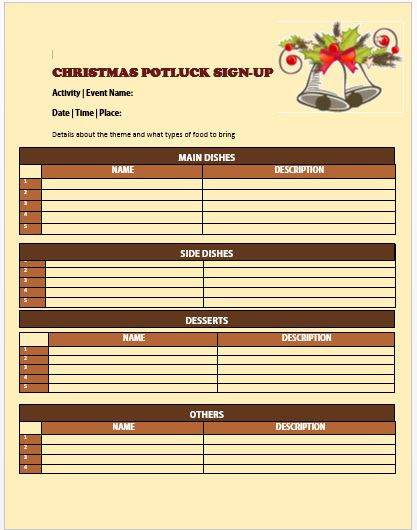 Christmas Potluck Signup Sheet 3