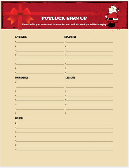 Christmas Potluck Signup Sheet 9