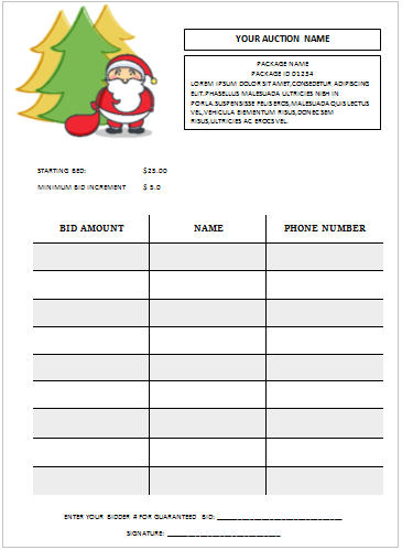 Christmas Silent Auction Bid Sheet