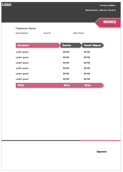 Freelance Invoice Template 8