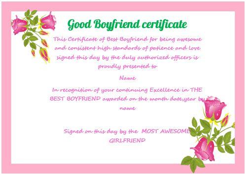 Good Boyfriend Certificate