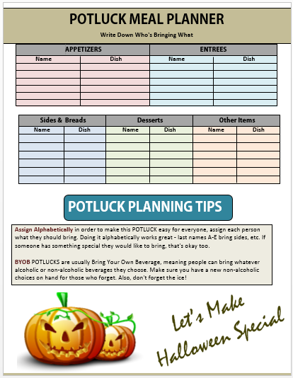 Halloween Potluck Sign Up Sheet 2