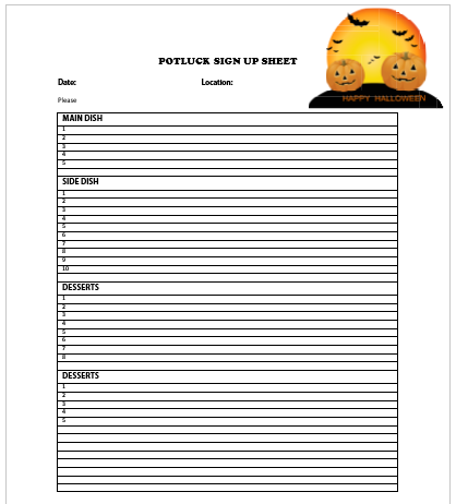 Halloween Potluck Sign Up Sheet 3