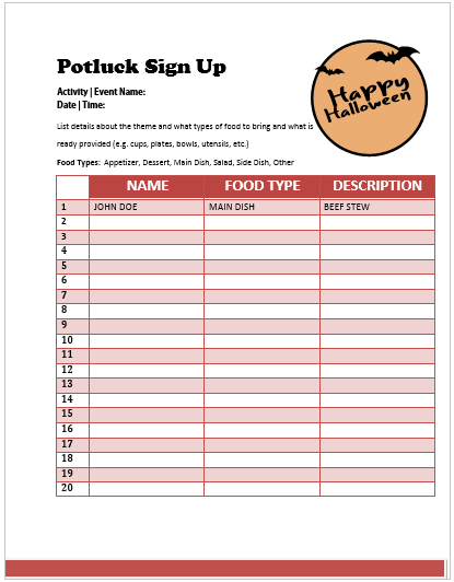 Halloween Potluck Sign Up Sheet 4