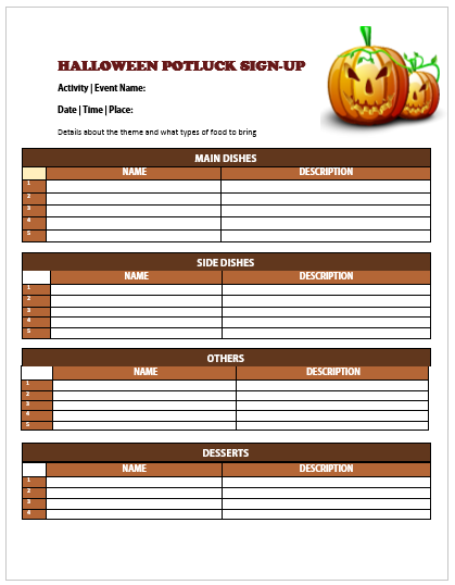 Halloween Potluck Sign Up Sheet 7