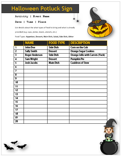 Halloween Potluck Sign Up Sheet 8