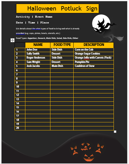 Halloween Potluck Sign Up Sheet 9