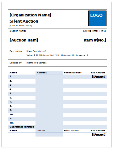 microsoft template silent auction bid sheet