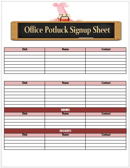 Office Potluck Sign Up Sheet 1