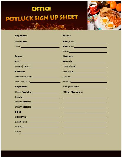 Office Potluck Sign Up Sheet 11