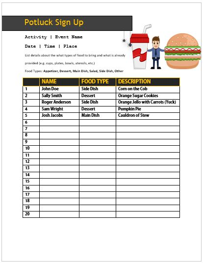 Office Potluck Sign Up Sheet 13
