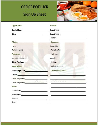 thanksgiving potluck signup sheet template - 13 stylish office potluck signup sheets for your next