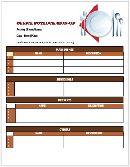 Office Potluck Sign Up Sheet 3