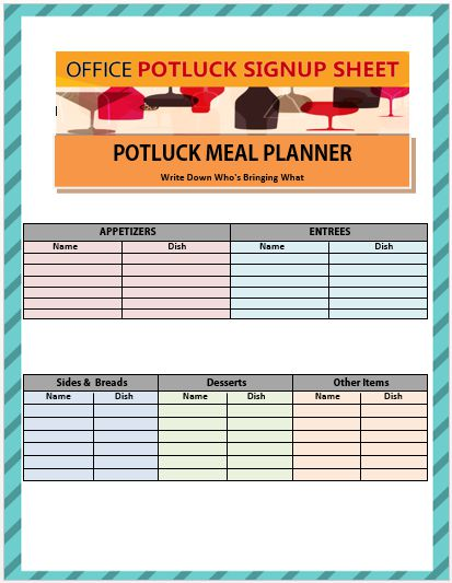 Office Potluck Sign Up Sheet 5
