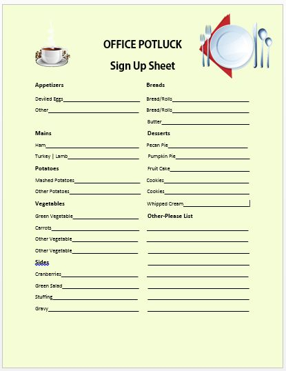 Office Potluck Sign Up Sheet 6