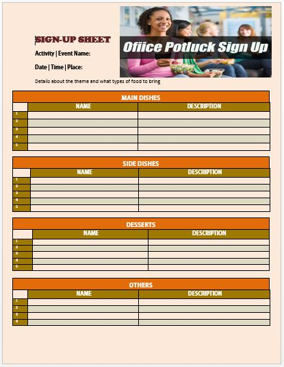Office Potluck Sign Up Sheet 7