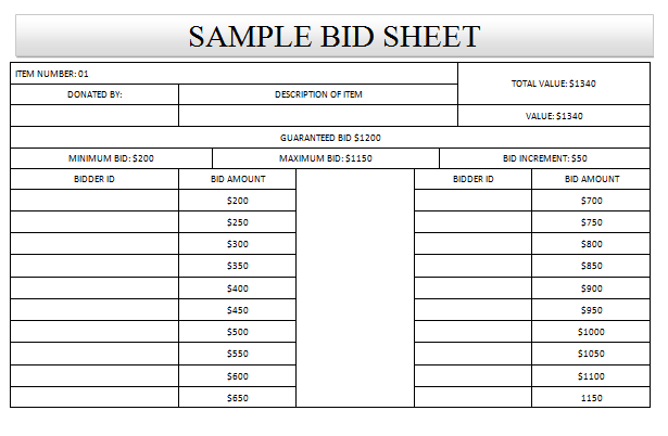 Sample Silent Auction Bid Sheet
