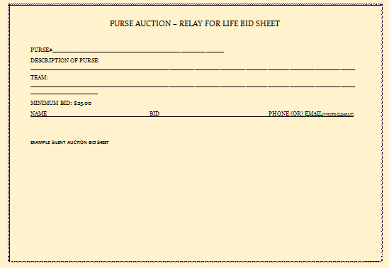 Silent Auction Bid Sheet Carbon Copy
