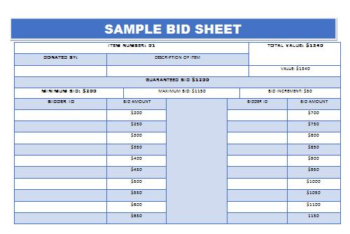sample silent auction bid sheet