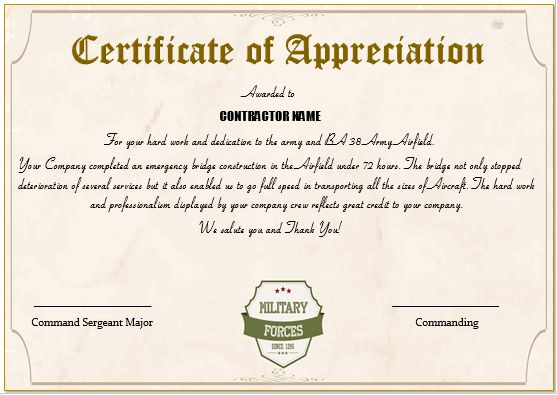 Superior 20+ Professional Army Certificate Of Appreciation Templates : Wording U0026  Samples