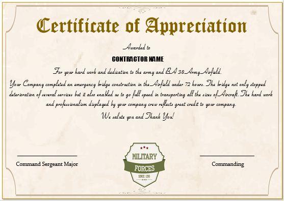 Army Certificate Of Appreciation For Contractors