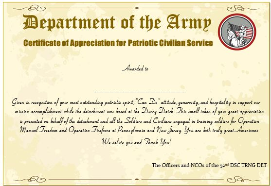 Army Certificate Of Appreciation For Patriotic Civilian Service