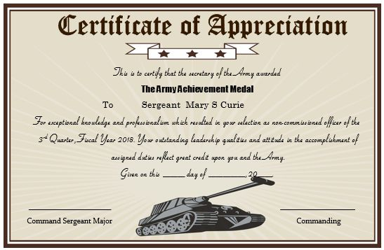 army certificate of appreciation template printable template ...